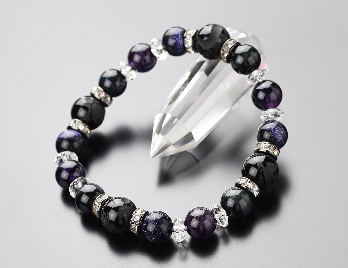 【約12ミリオニキス・四神獣】約10ミリアメジスト・青虎目石・紫金石 そろばん水晶 ブレスレット