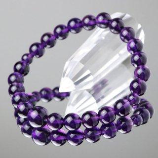 数珠ブレスレット 紫水晶 約8ミリ 5A 107080259 送料無料