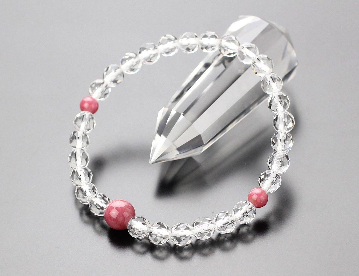 約6ミリ カット水晶 ロードナイト 数珠ブレスレット【腕輪念珠/パワーストーン】