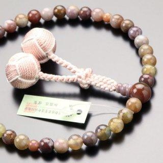 数珠 女性用 約7ミリ ピンク印度瑪瑙 2色梵天房 2000200301288