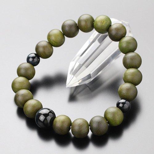 約10ミリ 緑檀 青虎目石 数珠ブレスレット【腕輪念珠/ホークスアイ/お守り】