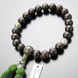数珠 男性用 20玉 縞黒檀(艶消し)ラブラドライト 正絹2色房 2000100301012 送料無料