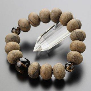 数珠ブレスレット 約12×16ミリ みかん玉 シャム柿 茶水晶 107000040