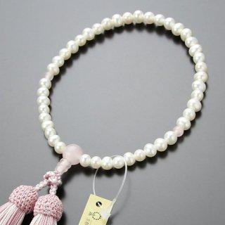 数珠 女性用 淡水パール ローズクォーツ 正絹2色房 2000200301318 送料無料