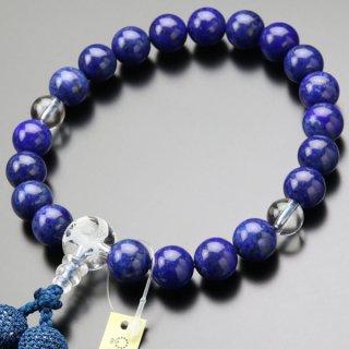 数珠 男性用 20玉 ラピスラズリ 龍彫り 本水晶 正絹2色房 2000100600542 送料無料