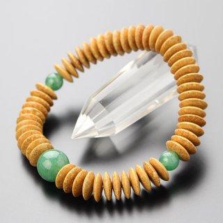 数珠ブレスレット 54玉 平玉 天竺菩提樹 印度翡翠 107000029 送料無料