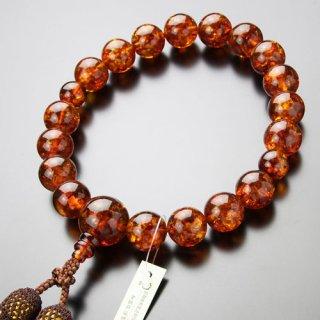 数珠 男性用 特大 18玉 琥珀 正絹2色房(4匁)2000100800485 送料無料