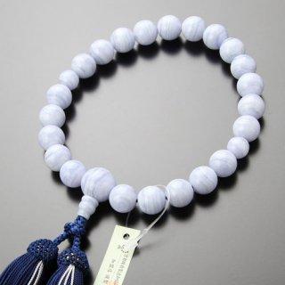 数珠 男性用 22玉 ブルーレース 正絹2色房 2000100500583 送料無料
