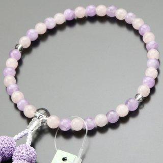 数珠 女性用 約7ミリ ローズクォーツ・藤雲石 正絹房 2000200401339