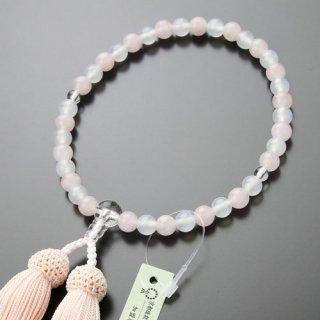 数珠 女性用 約7ミリ ローズクォーツ・白瑪瑙 正絹房 2000200200314