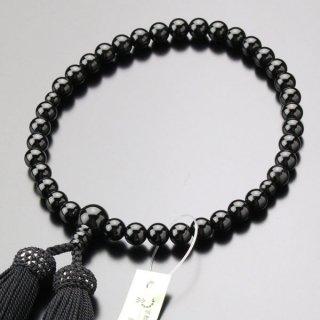 数珠 女性用 約7ミリ 黒オニキス 正絹房≪単色≫ 2000200200321