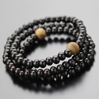 数珠ブレスレット 108玉 3重 沈香 縞黒檀(艶有り)2000800301862