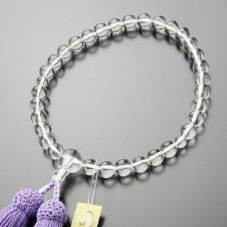 数珠 女性用 約8ミリ 本水晶 正絹房(藤色)2000200900184