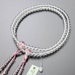 真言宗 数珠 女性用 8寸 桜彫り 本水晶 梵天房 2000400100414 送料無料