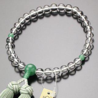 数珠 女性用 約8ミリ 本水晶 印度翡翠 京かがり房 2000200900221