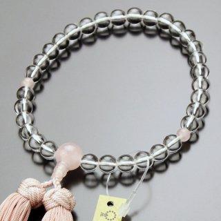 数珠 女性用 約8ミリ 本水晶 ローズクォーツ 京かがり房 2000200900214