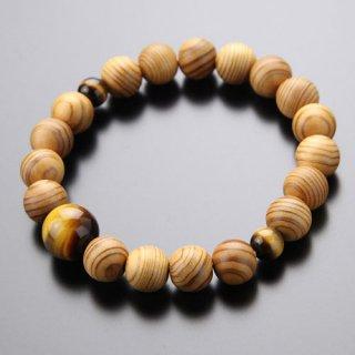 数珠ブレスレット 約10×11ミリ 屋久杉 虎目石 2000800301879
