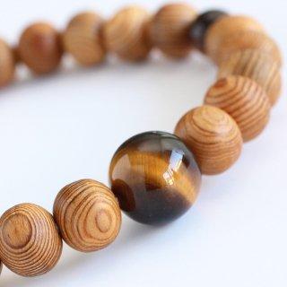 数珠ブレスレット 約8×9ミリ 屋久杉 虎目石 2000800101592