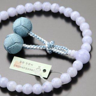 数珠 女性用 約8ミリ ブルーレース 梵天房【略式数珠/2000200301417】【送料無料】