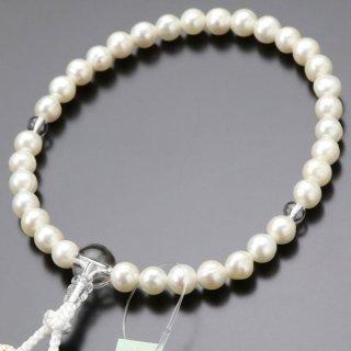 数珠 女性用 淡水パール(白系)本水晶 正絹房(白色)2000200301400 送料無料