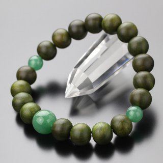 数珠ブレスレット 約10ミリ 緑檀 印度翡翠 2000800201681