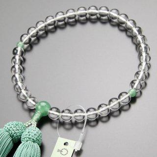 数珠 女性用 約8ミリ 本水晶 印度翡翠 正絹房 2000200900245