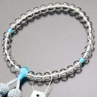 数珠 女性用 約8ミリ 本水晶 シーブルーカルセドニー 正絹房 2000200900238