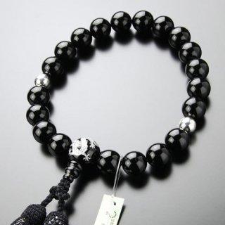 数珠 男性用 20玉 龍彫り 黒オニキス 2天 本銀 正絹2色房 2000100401286 送料無料