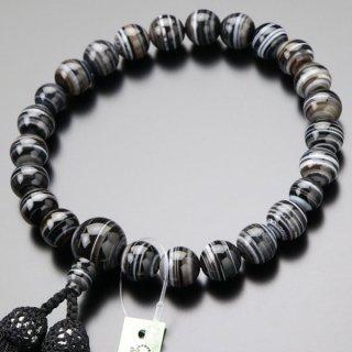 数珠 男性用 22玉 黒縞瑪瑙 正絹房 2000100301081  送料無料