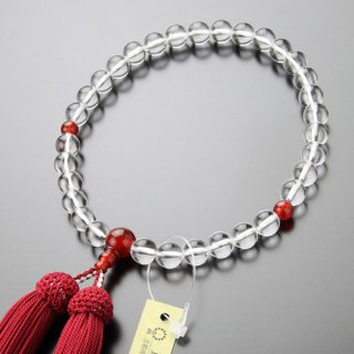 数珠 女性用 約8ミリ 本水晶 瑪瑙 正絹房 2000200900252