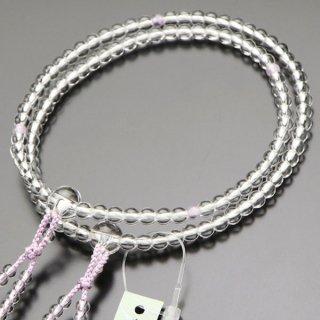 八宗派兼用 数珠 女性用 8寸 本水晶 四天 藤雲石 正絹房 2000400801373 送料無料