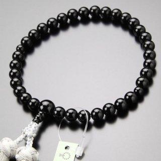 数珠 女性用 約8ミリ 黒オニキス 銀花かがり房 2000200200352