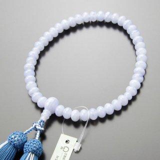 数珠 女性用 みかん玉 ブルーレース 正絹2色房 102000086 送料無料