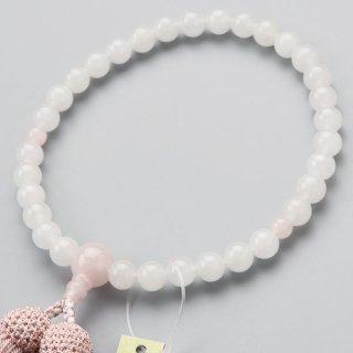 数珠 女性用 約8ミリ 白オニキス 3天 ローズクォーツ 正絹房 2000200200345