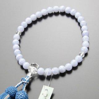 数珠 女性用 約8ミリ ブルーレース カット水晶 正絹2色房【略式数珠/2000200301431】【送料無料】