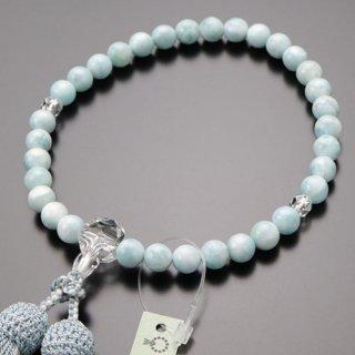 数珠 女性用 約8ミリ ラリマー カット水晶 正絹2色房 102000152 送料無料
