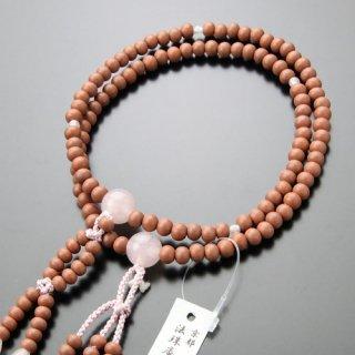 日蓮宗 数珠 女性用 8寸 紅桜 ローズクォーツ 梵天房 2000400400521 送料無料