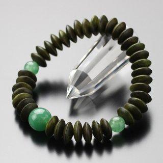 数珠ブレスレット 平玉 緑檀 印度翡翠 2000800201773