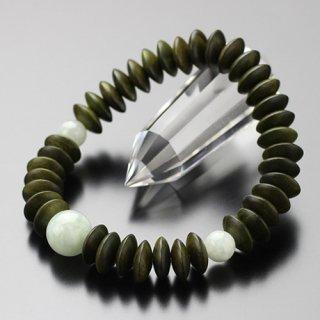数珠ブレスレット 平玉 緑檀 ビルマ翡翠 2000800302043