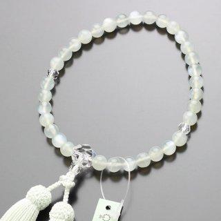 数珠 女性用 約8ミリ ムーンストーン カット水晶 正絹房 102080097 送料無料