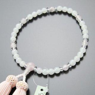 数珠 女性用 約7ミリ 白オニキス ローズクォーツ 切子水晶 正絹房 2000200301509 送料無料