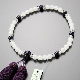 数珠 女性用 約7ミリ 白オニキス 紫金石 切子水晶 正絹房 2000200301493 送料無料