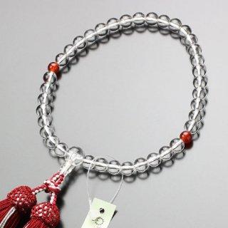 数珠 女性用 約7ミリ 本水晶 瑪瑙 正絹2色房 2000200301592