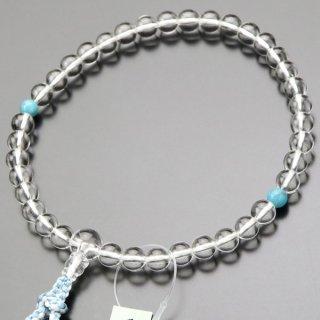 数珠 女性用 約7ミリ 本水晶 トルコ石 正絹2色房 2000200301578