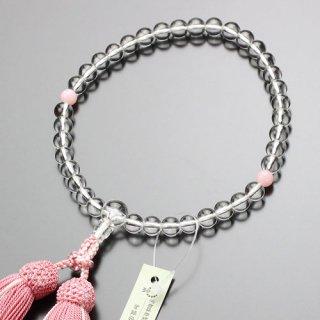 数珠 女性用 約7ミリ 本水晶 ピンクオパール 正絹2色房 2000200301615 送料無料