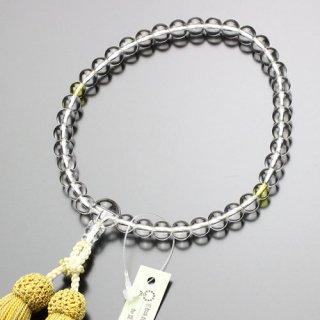 数珠 女性用 約7ミリ 本水晶 黄水晶 正絹2色房 2000200301608