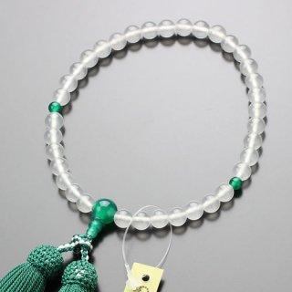 数珠 女性用 約7ミリ ミルキークォーツ クリソ瑪瑙 正絹房 2000200200260 送料無料