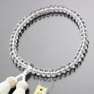 数珠 女性用 スターシェイプ 本水晶 正絹房(白)102000142 送料無料