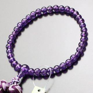 数珠 女性用 約7ミリ 紫水晶 銀花かがり房 2000200200406 送料無料