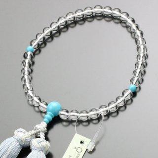 数珠 女性用 約7ミリ 本水晶 トルコ石 銀花かがり房 2000200500612 送料無料
